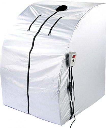 newgen medicals Mini Infrarotkabine: Portable Infrarot-Sauna V2 mit 2 Keramik-Heizern, Klapp-Sitz, 1.600 W (Mini Sauna)