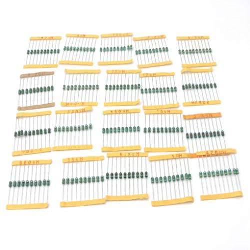 heacker 200pcs / Set 20 Werte Induktivitäten Farbrad- Induktivitäten Induktivitäten, Drossel-Kit, 20 Assortment Kit Electronic Components