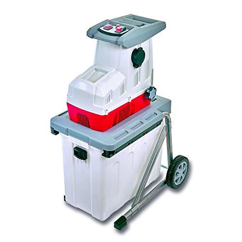 IKRA 81002870 Elektro Gartenhäcksler Walzenhäcksler ILH2800, leise robust wartungsarm, Aststärke bis 44mm, 2800 W, 230 V, Rot/Weiß/Grau/Schwarz