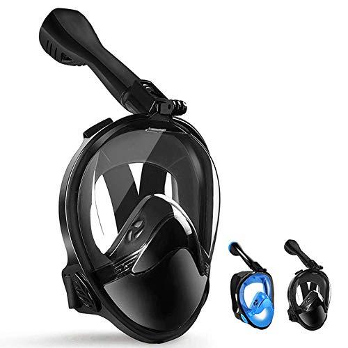 LBHMEI Tauchmaske Vollgesichtsmaske mit 180°Sichtfeld,Vollmaske Schnorchelmaske Tauchmaske mit Kamerahalterung, Anti-Fog Anti-Leck,Geeignet für Erwachsene und Kinder(Schwarz,S/M)