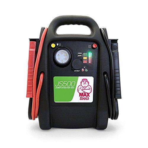 MAXTOOLS JS500 Batterienotstarter für Autos und Transporter, 2200A 22Ah, für Diesel-Benzinmotoren, Booster mit LED-Licht, USB, Starthilfekabel, Starthilfe powerbank, Batterieladegerät und Starterkabel