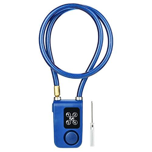 Smart Keyless Bluetooth Alarm Fahrradschloss mit 110db Alarm IP44 Wasserdichte Anti-Diebstahl Kettenschloss für Motorrad/Tor/Tore/Fahrräder, APP Control Blue