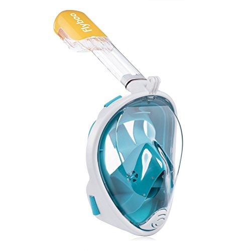 Flyboo Tauchmaske Schnorchelmaske Vollmaske,180-Grad-Sicht Tauchmasken mit Panorama-Vollgesichtsdesign,Sportkameras Kompatible Taucherbrille für Erwachsene und Kinder