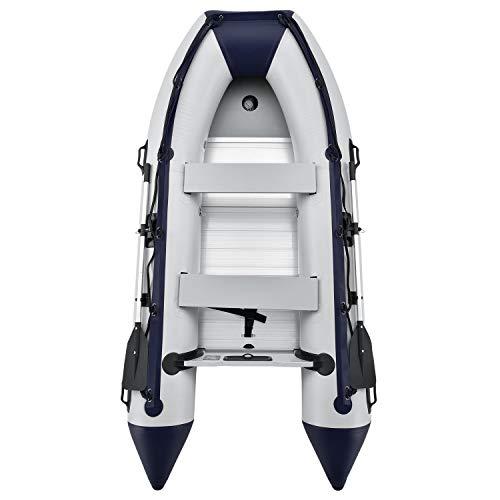 ArtSport Schlauchboot grau mit 2 Sitzbänken und Aluboden – aufblasbar- für 4 Personen- 3,20 Meter – Paddelboot inklusive Paddel Pumpe und Tasche