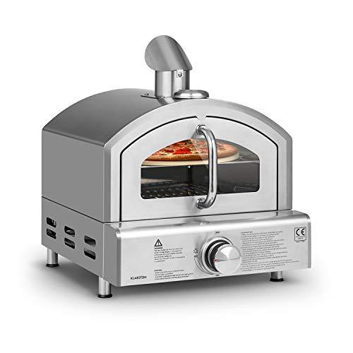 Klarstein Pizzaiolo Neo Gas-Pizzaofen Pizza-Backofen Pizzaofen, inkl. Pizzastein 33 cm (Ø) und Grillrost, eingebautes Thermometer, 304 Edelstahl, einfache Reinigung, silber