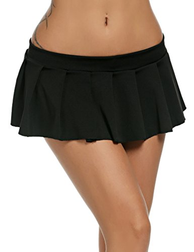 Avidlove Mini Rock Schulmädchen Skirt Damen Kurz Minirock Röcke Frauen Sexy Dessous Solid gefaltet Nachtwäsche Reizvolle, Schwarz, Gr. L