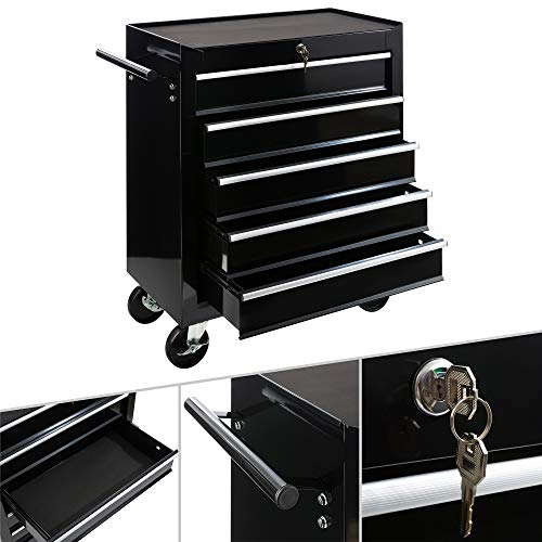 Arebos Werkstattwagen 5 Fächer | zentral abschließbar | inkl. Antirutschmatten | kugelgelagerte Schubladen | 2 Rollen mit Feststellbremse (schwarz)