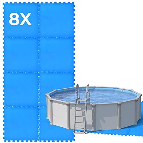 8x Poolunterlage Matten   Premium Poolmatten Puzzelmatten 50x50   Pool Unterlegmatte eckig   Bodenschutzmatte Poolbodenmatten rechteckig ideal als Bodenschutz Fliesen und Pool-Unterlage für den Pool