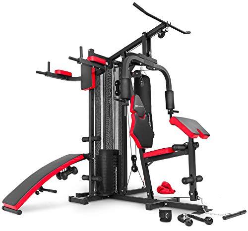 Hop-Sport Kraftstation Fitnessstation Multigym Fitnesscenter 1054K 3 Stationen + 72 kg, inkl. Boxsack, Boxhandschuhe und Kurzhanteln (2x1,5kg)