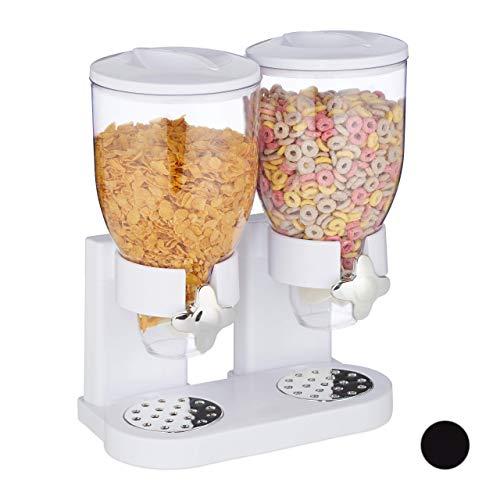 Relaxdays 10026444_49 Relaxdays Müslispender doppelt, mit Portionierer, Cornflakes & Süßigkeiten, HBT: 41x32,5x19 cm, Cerealienspender, weiß Weiß