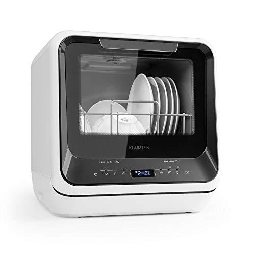 Klarstein Amazonia Mini Spülmaschine Geschirrspüler Geschirrspülmaschine, Platz für 2 Maßgedecke, 6 Programme, 5 Liter Wasser benötigt, LED-Display, Touch, inkl. Zubehör) schwarz