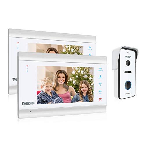 TMEZON Video Türsprechanlage Türklingel Intercom System, Türsprechanlage mit 1080P 7 Zoll 2-Monitor 1-Kamera Für 1-Familienhaus, Touch-Taste, Nachtsicht, Unterstützung automatisch Snapshot/Aufnahme