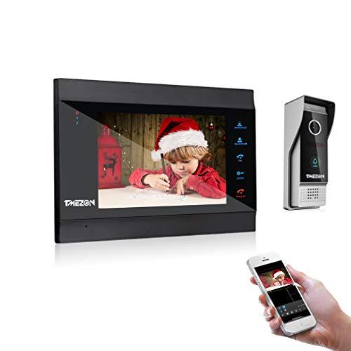 TMEZON WLAN Video Türsprechanlage Türklingel Gegensprechanlage System,7 Zoll WLAN Monitor mit Verdrahteter Kamera im Freien, Fernbedienung Türöffner und App,Sprechen und Anzeigen