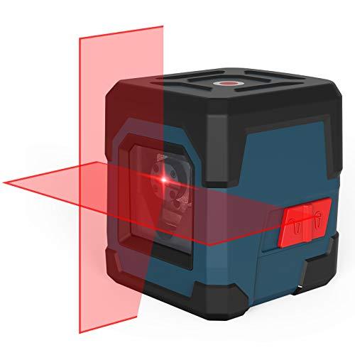 Kreuzlinienlaser, RockSeed Selbstnivellierend Linienlaser 15M ± 0,2 mm/m, Drehbar Vertikale/Horizontale Roter Laser Level mit 1m Stoßfest, IP54 Staub & Wasserschutz inkl. 2*AA Batterien & Schutztasche