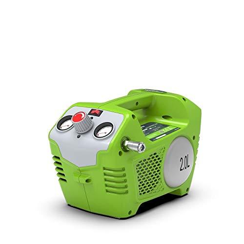 Greenworks 40V Akku-Kompressor G40AC (Li-Ion 40V 8 bar Elektromotor mit 240 Watt Leistung 2L Tankvolumen 40L/min Luftstrom inklusive allen gängigen Aufsätzen ohne Akku und Ladegerät)