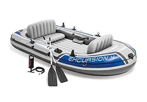 Intex Excursion 4 Set Schlauchboot - 315 x 165 x 43 cm - 3-teilig - Grau / Blau