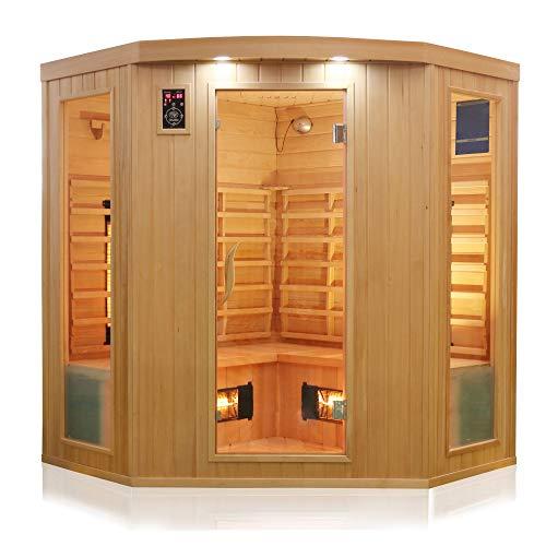Dewello Infrarotkabine HALEY 160x160 für 2-4 Personen aus Hemlock Holz mit Vollspektumstrahler