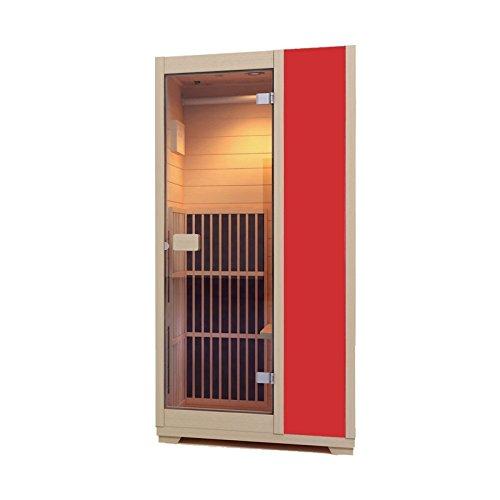 Zen 'Brighton' Mini-Sauna, 1 Platz, Infrarot, kompakt und modular, aus Holz, aus kanadischem Hemlockholz, verfügbar in 7 Farben rot