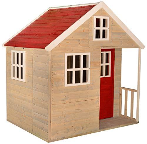 Wendi Toys M13 Spielhaus Kinder Outdoor | Holz Kinderspielhaus mit 4 Fenstern, Spielzeugregal rote Farbe | Spielplatz für Garten Draussen | Garten Spielzeug Baumhaus Spiel ab 2 Jahre