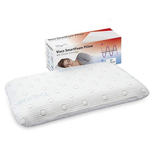 Kopfkissen MIZAR für Bauchschläfer, orthopädisches Bauchschläfer-Kissen mit zertifizierter Ergonomie aus weichem Visco-Schaum von nur 7 cm Höhe, mit thermoregulierendem Klima-Bezug, 60 x 40 x 7 cm