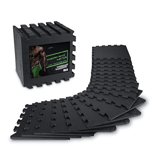 AthleticPro Bodenschutzmatte Fitness [31x31cm] - 18 extra dicke Bodenmatten [20% mehr Schutz] - Rutschfeste Schutzmatten für Fitnessraum&Fitnessgerät