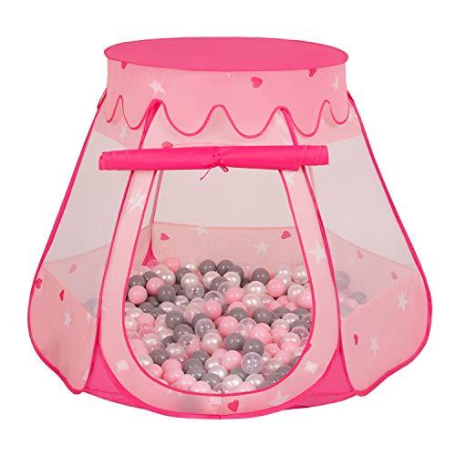 Selonis Baby Spielzelt Mit Plastikbällen Zelt 105X90cm/200 Bälle Plastikkugel Kinder, Pink:Perle-Grau-Transparent-Puderrosa