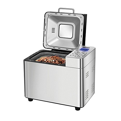 UNOLD Brotbackautomat Backmeister Edel, 550 W, 750-1000 g Brotgewicht, Keramik-Beschichtung, 68456, Silber, L 26,7 cm X B 36,9 cm X H 30,6 cm