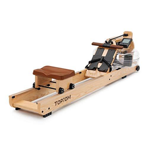 TOPIOM Rudergerät, Water Ruderzugmaschine, Wasser-Rudergerät mit Verstellbarer Fußstütze und Bank, LCD-Display, Rower Fitnessgeräte für zu Hause (Wood)
