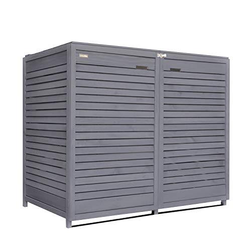 Lukadria Mülltonnenbox Mülltonnenverkleidung für 2 Tonnen erweiterbar auf 3, 4 Tonnen Mülltonnecontainer Holz 120L-240L vorimprägniert in anthrazit mit Rückwand Adr