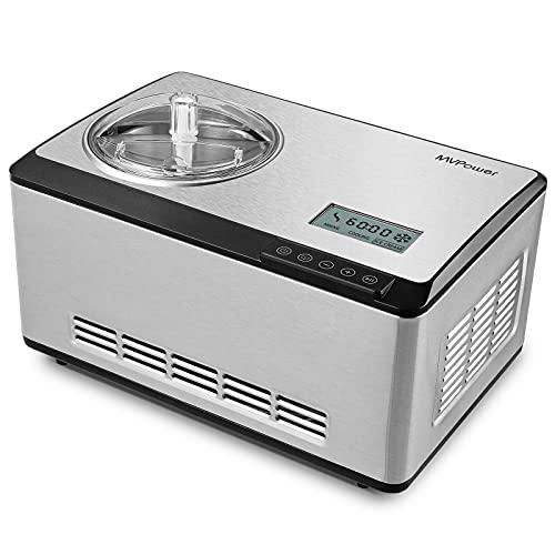 MVPower Eismaschine 2L,Speiseeismaschine mit Kompressor 180W,Automatisch Selbstkühlendem Speiseeisbereiter,LCD-Anzeige,Edelstahl-gebürstet,für Eis,Joghurt und Sorbet innerhalb 60 min