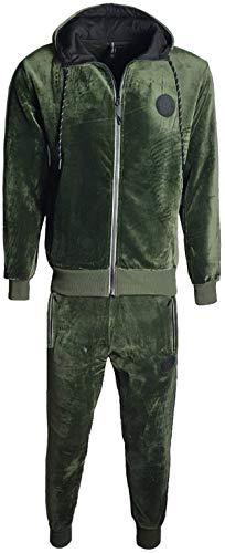 Herren Velours Samt Full Trainingsanzug Langarm Top & Elastische Taille Hose Gr. Medium, olivgrün