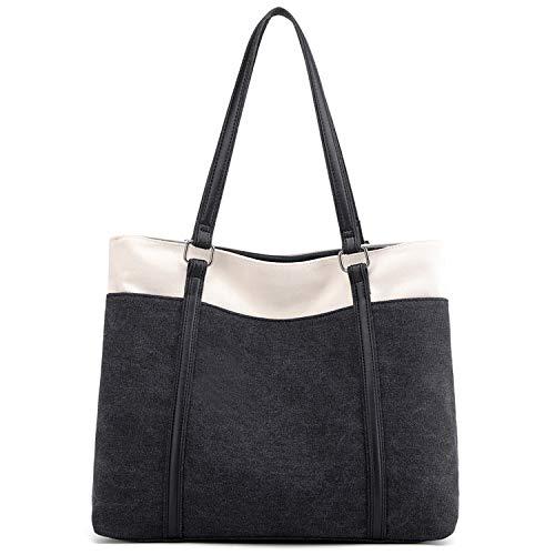 JANSBEN Damen Handtasche Schultertasche Canvas Casual Groß Tasche Shopper Elegant für Büro Schule Arbeit (Schwarz)
