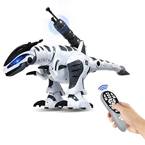 COSTWAY RC Interaktiv Dinosaurier Roboter mit Sound & LED-Effekte, Ferngesteuerter Dino Roboter programmierbar mit Kampfmodus, Musik-, Tanz- und Schießfunktion, für Kinder über 3 Jahre alt