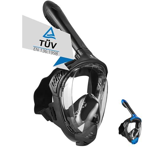 Khroom® TÜV geprüfte CO2 sichere Schnorchelmaske Vollmaske Modell 2021 -Tauchmaske für Erwachsene und Kinder | Vollgesichtsmaske zum Schnorcheln Seaview BC (Matt Schwarz, L-XL)