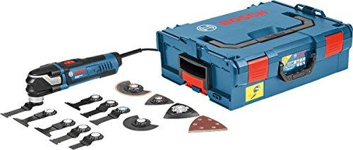 Bosch Professional Multi-Tool GOP 40-30 (inkl. 9xStarlock BIM Tauchsägeblätter, Starlock Carbid-RIFF Schleifplatte, Starlock Deltaschleifplatte, 5xSchleifblätter, in L-Boxx 136