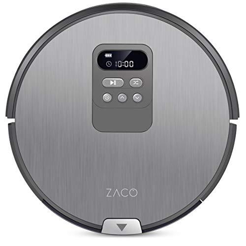 ZACO V80 Saugroboter mit Wischfunktion, intelligente Navigation, automatischer Staubsauger Roboter, 2in1 nass Wischen oder Staubsaugen, für Hartböden, Fallschutz, mit Ladestation, ideal für Tierhaare