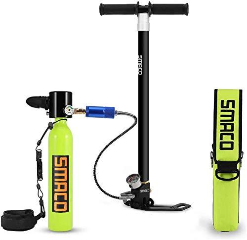 SMACO S300 Pro Portable Mini Tauchflaschenausrüstung, Druck- und korrosionsbeständiges Material Tauchflaschenflasche mit verbesserter Handpumpe und Tanktasche für Notfall-Backup