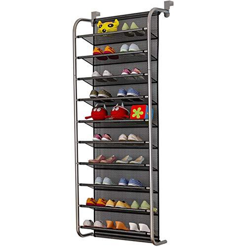 TZAMLI 10-Tier Schuhregal über der Tür Shoe Organizer Hanging Shoe Storage Shelf Starke Metallhaken für Closet Pantry (Silbergrau, 56 x 21 x 151cm)
