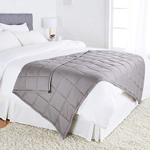 Amazon Basics - Gewichtsdecke, Baumwolle, für alle Jahreszeiten, 5,4 kg, 120 x 180 cm (Twin-Größe), Dunkelgrau
