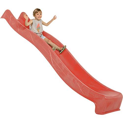 Demmelhuber Rutsche WATERSLIDE 2,90 m mit Wasseranschluss für Spielturm Wellenrutsche Gartenrutsche Kinderrutsche Anbaurutsche Wasserrutsche (Rot)