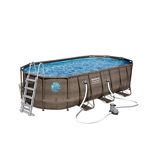 Bestway Power Steel Swim Vista 549x274x122 cm, Frame Pool oval im Komplett Set mit Bullauge, inkl. Filterpumpe, Leiter und Abdeckplane