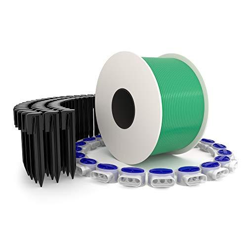 kanoo® Installationsset für Mähroboter mit 150m Begrenzungskabel + 300x Erdnägel + 20x Kabelverbinder – praktisches Komplett-Set fürs Verlegen von Begrenzungsdraht aller gängigen Marken