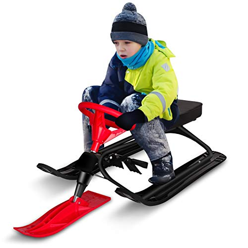 Qdreclod Schlitten Snowracer mit 2 Fußbremse und Lenkrad Schlitten Kinder Lenkschlitten für Kinder Erwachsene Ski Schlitten Tragbar Rodel Schlitten