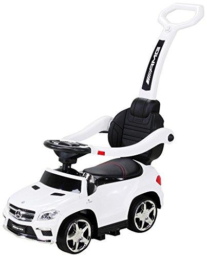 Actionbikes Motors Kinder Rutschauto Mercedes Amg GL 63 - Lizenziert - 4 in 1 - Schiebestange - Rutscher - Laufrad - Lauflernwagen - Lernspielzeug für Kinder ab 1 Jahr (Weiß)