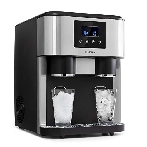Klarstein Eiszeit Crush Eiswürfelmaschine, 3-in-1: Eiswürfel, Crushed-Eis, Eiswasser, 2 Eiswürfelgrößen, 15-18 kg/24h, LCD-Display, Wassertankkapazität: 1,8 Liter, Eiskapazität: 600 g, silber