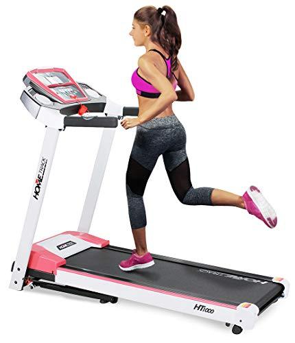 Miweba Sports elektrisches Laufband HT1000 - Incline 6% - Klappbar - 1,75 Ps - 16 Km/h - 12+4 Laufprogramme - Tablet Halterung - Große Lauffläche (Weiß Pink)