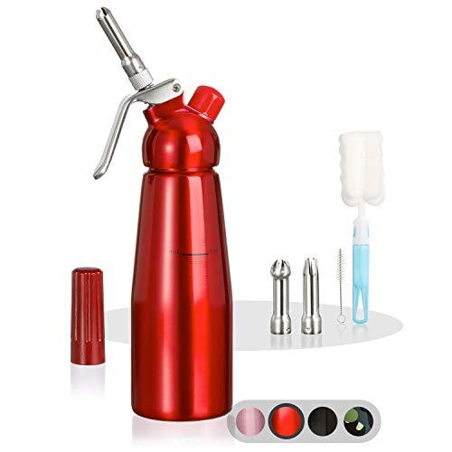 Amazy Sahnespender inkl. 3 Edelstahl Tüllen + 2 Reinigungsbürsten – Profi Sahnesyphon aus Aluminium für die Zubereitung von Schlagsahne, Creme, Mousse, Espuma & Co. (Rot   500 ml)