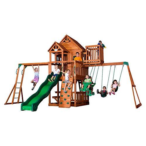 Backyard Discovery Spielturm Skyfort II aus Holz | XXL Spielhaus für Kinder mit Rutsche, Schaukel, Kletterwand und Aussichtsturm | Stelzenhaus für den Garten