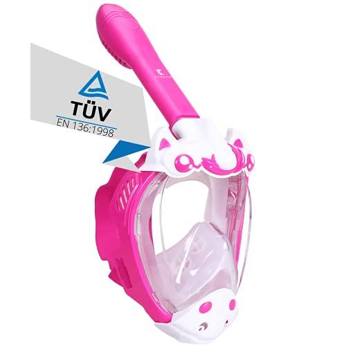 Khroom® TÜV geprüfte CO2 sichere Schnorchelmaske Vollmaske Modell 2021 -Tauchmaske für Kinder   Vollgesichtsmaske zum Schnorcheln - Einhorn