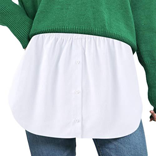 Damen Mini Skirt Shirt Extender Verstellbare Schichtung Fake Top Halblang Splitting Lower Sweep Set für Pullover Sweatshirt Jacke Mantel (Geknöpft, Weiß 4993E, XL)